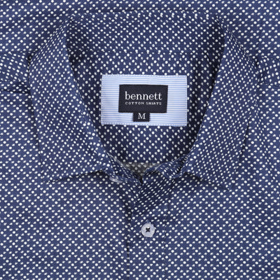 Bennett Long Sleeve Smart Casual Shirt in Navy - Ron Bennett Menswear  - 2