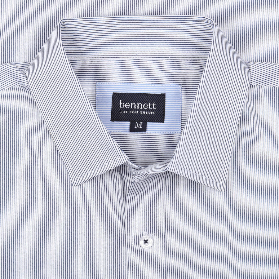 Bennett Long Sleeve Smart Casual Shirt in Navy Stripe - Ron Bennett Menswear  - 1