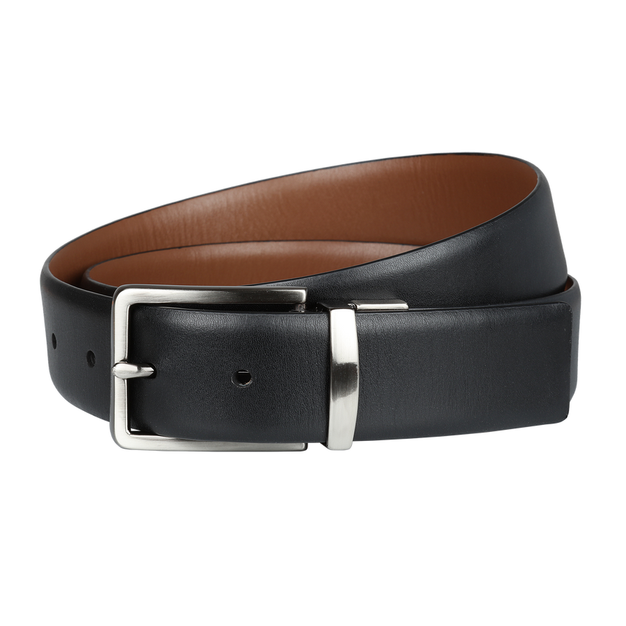 Ron Bennett Reversible Leather Belt in Tan / Black