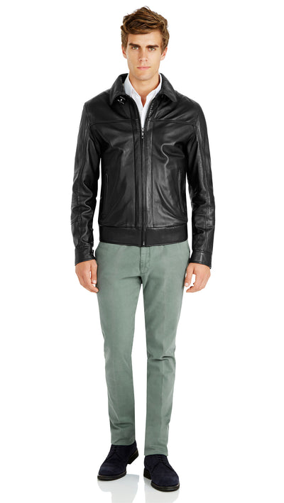 Bennett Leather Bomber Jacket in Black - Ron Bennett Menswear  - 5