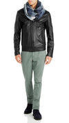 Bennett Leather Bomber Jacket in Black - Ron Bennett Menswear  - 7