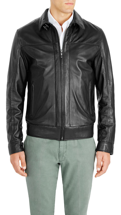 Bennett Leather Bomber Jacket in Black - Ron Bennett Menswear  - 3