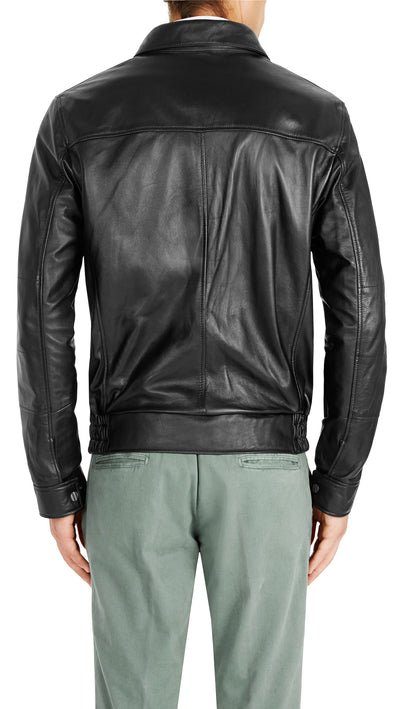 Bennett Leather Bomber Jacket in Black - Ron Bennett Menswear  - 2