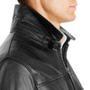 Bennett Leather Bomber Jacket in Black - Ron Bennett Menswear  - 8
