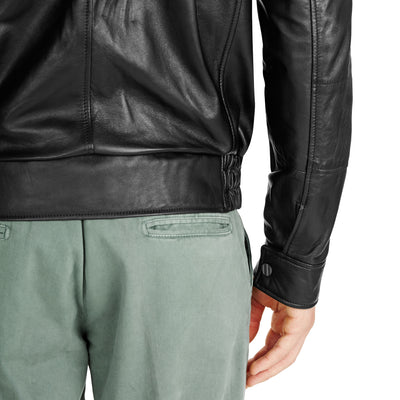 Bennett Leather Bomber Jacket in Black - Ron Bennett Menswear  - 4