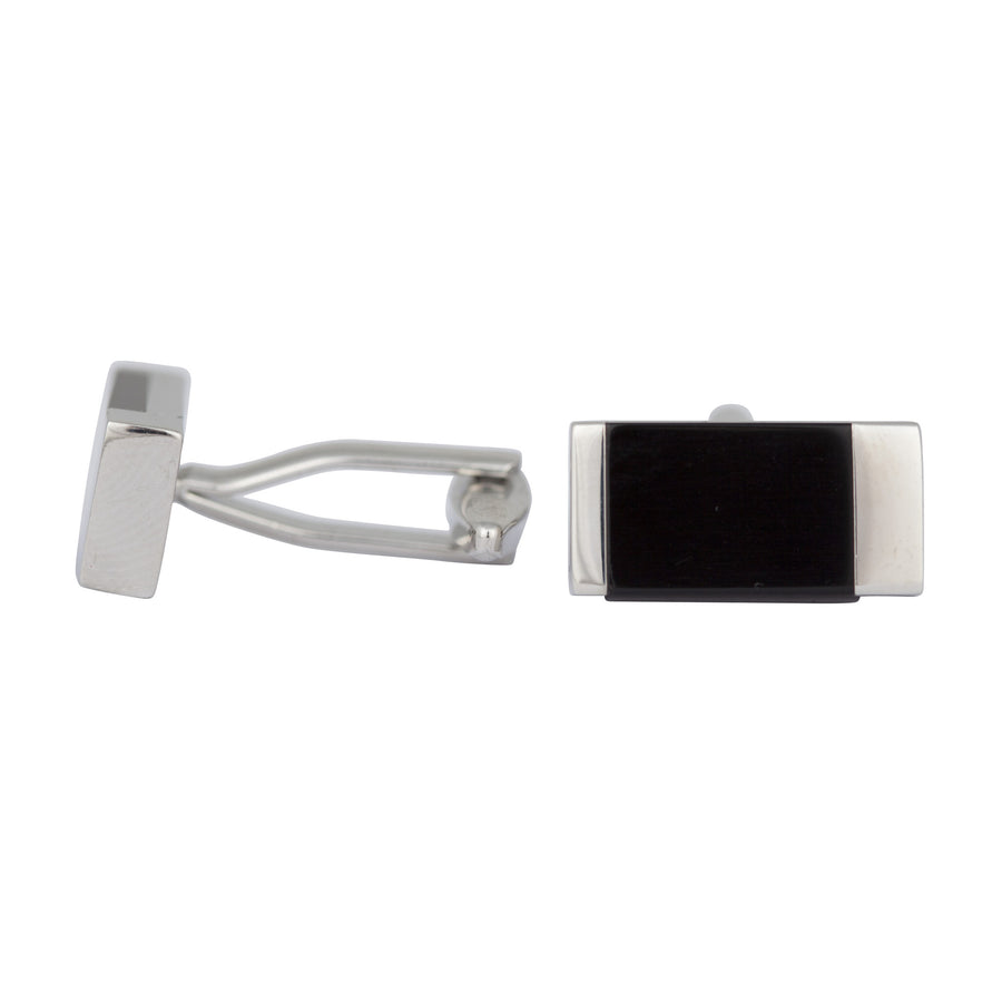 Ron Bennett Cufflinks in Silver/Black - Ron Bennett Menswear