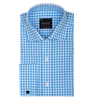 Bennett Signature Business Shirt with French Cuff in Sky Check - Ron Bennett Menswear  - 1