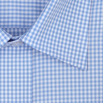 Bennett Signature Business Shirt in Blue Check - Ron Bennett Menswear  - 2
