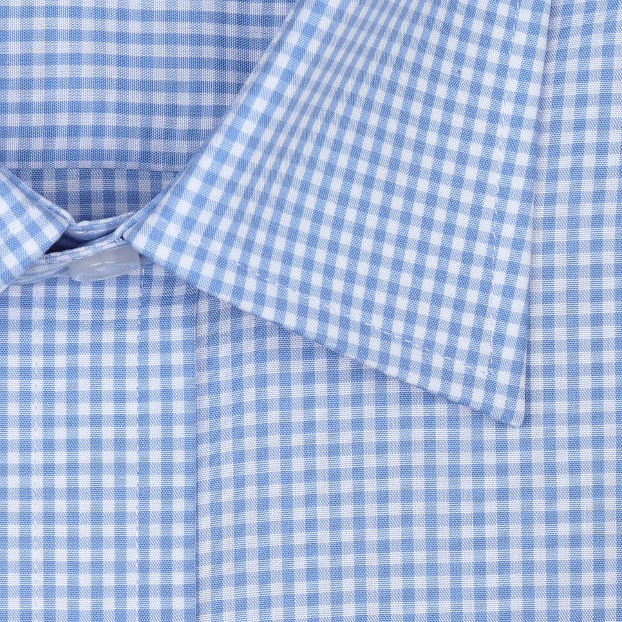 Bennett Signature Business Shirt in Blue Check - Ron Bennett Menswear  - 1