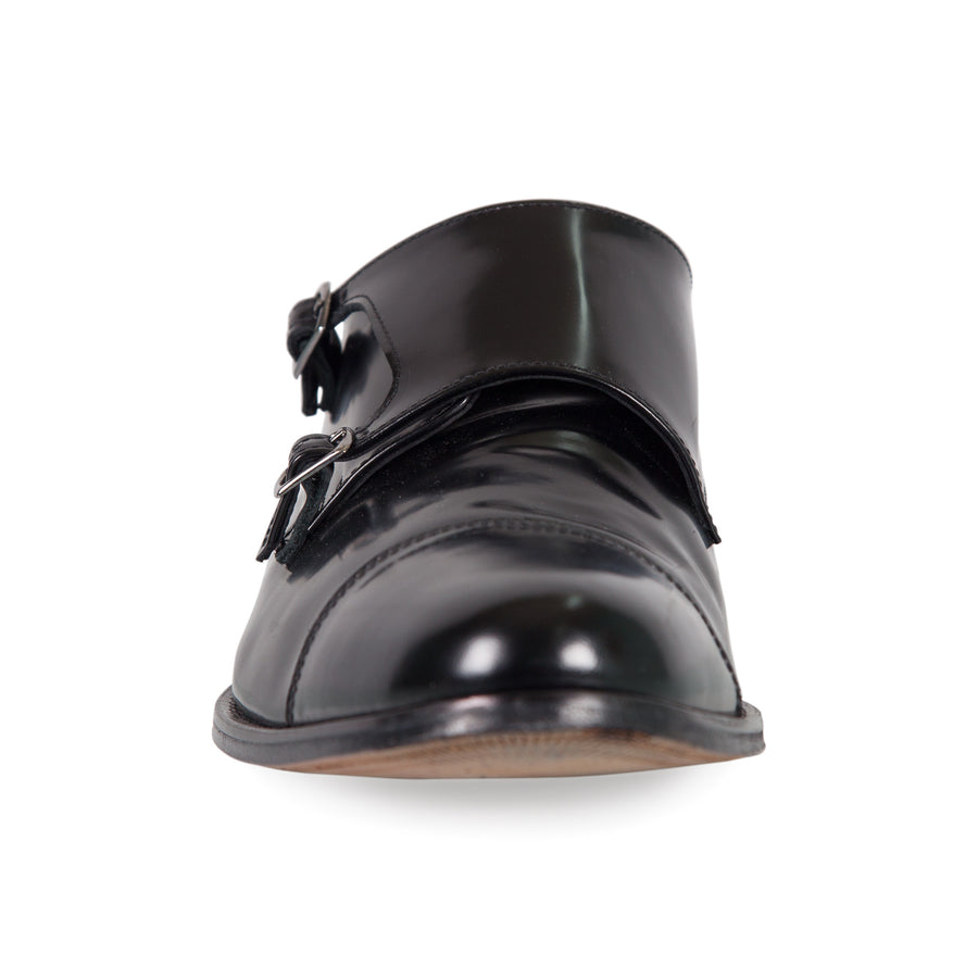 Bennett Double Monk Leather Shoes in Black