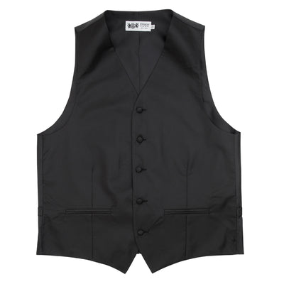Formal Satin Vest in Black Twill - Ron Bennett Menswear  - 3