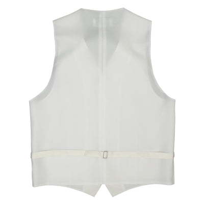 Formal Satin Vest in Ivory Twill - Ron Bennett Menswear  - 4