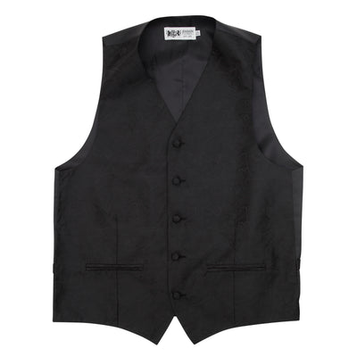 Formal Satin Vest in Black Paisley - Ron Bennett Menswear  - 3