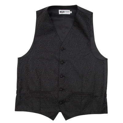 Formal Satin Vest in Black Double Paisley - Ron Bennett Menswear  - 3