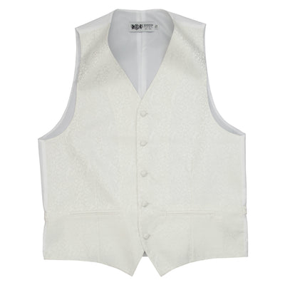 Formal Satin Vest in Ivory Paisley - Ron Bennett Menswear  - 3