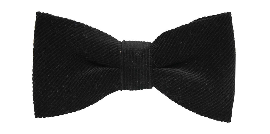 James Derby Italian made Corduroy Bow Tie in Black - Ron Bennett Menswear