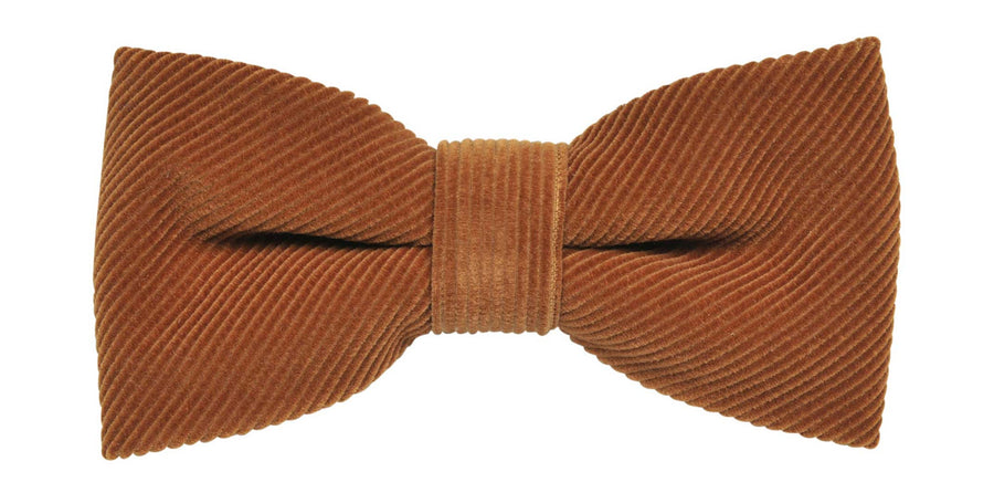 James Derby Italian made Corduroy Bow Tie in Brown - Ron Bennett Menswear