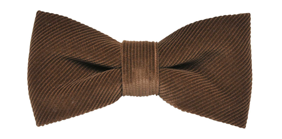 James Derby Italian made Corduroy Bow Tie in Khaki - Ron Bennett Menswear