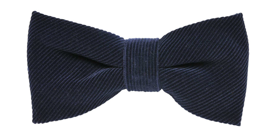 James Derby Italian made Corduroy Bow Tie in Navy - Ron Bennett Menswear
