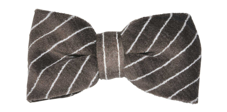 James Derby Italian made Velvet Bow Tie in Brown - Ron Bennett Menswear