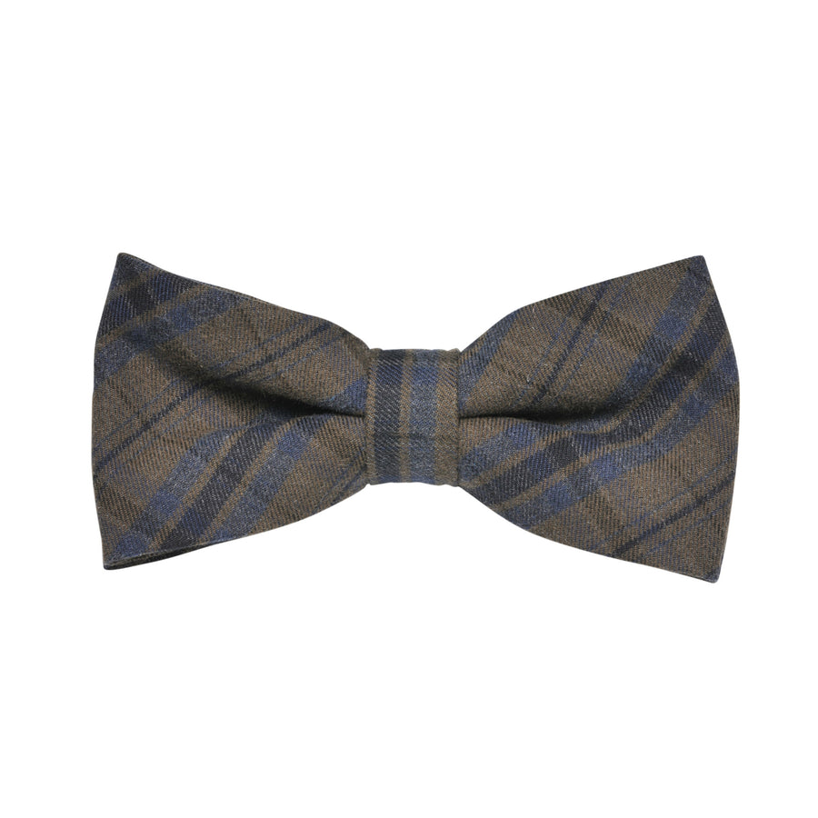 James Derby Italian made Brushed Bow Tie in Khaki - Ron Bennett Menswear