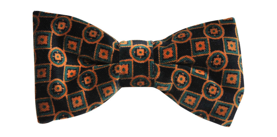 James Derby Italian made Velvet Bow Tie in Black/Brown - Ron Bennett Menswear