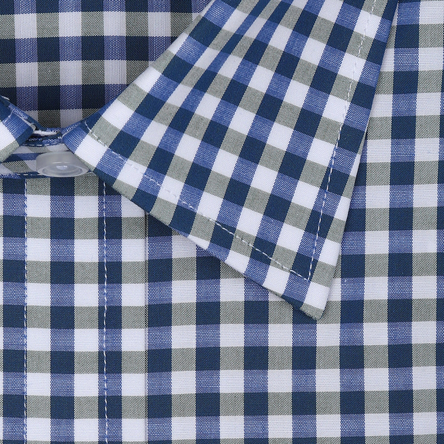 Bennett Signature Business Shirt in Blue / Grey Check - Ron Bennett Menswear  - 1