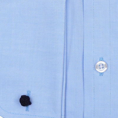 Bennett Signature Business Shirt with French Cuff in Sky - Ron Bennett Menswear  - 2