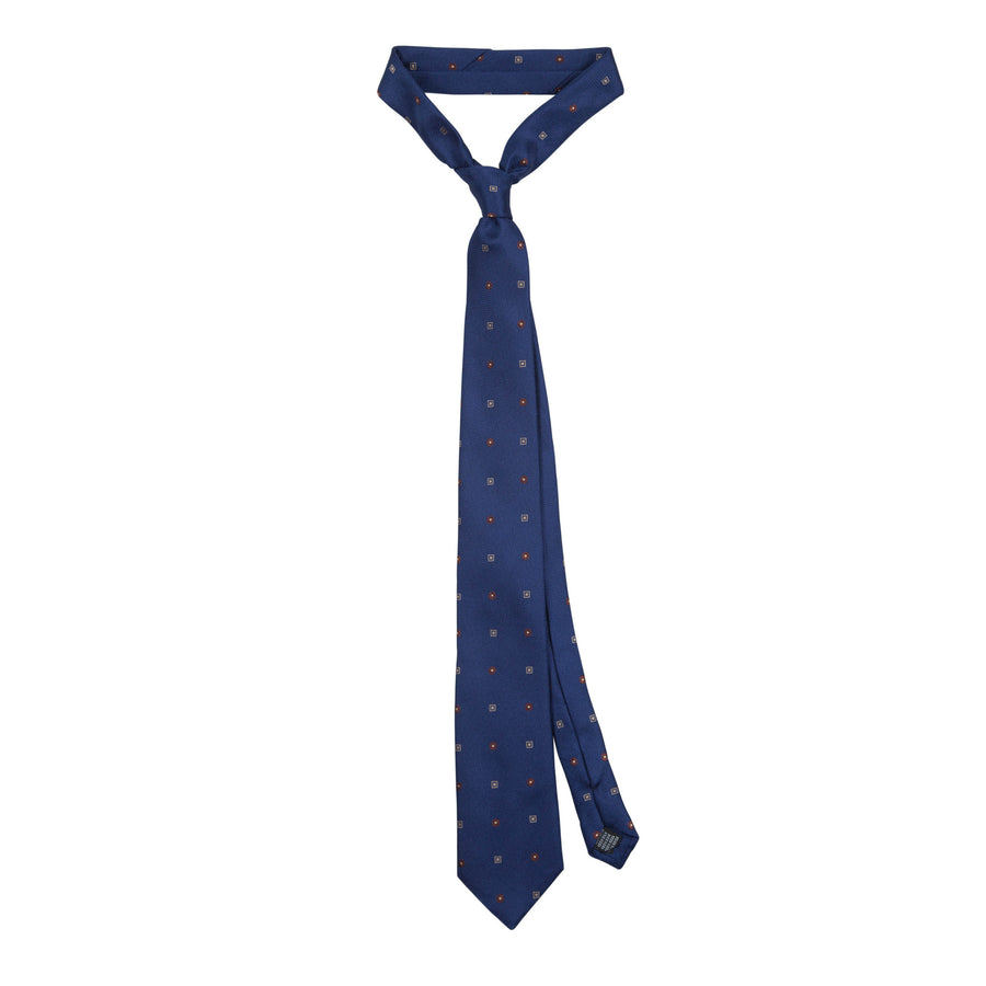 James Derby Silk Tie in Navy - Ron Bennett Menswear
