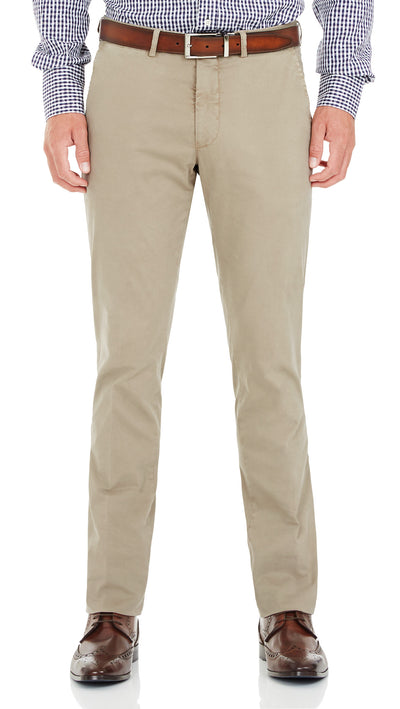 Bennett Cotton Chinos in Taupe - Ron Bennett Menswear  - 1