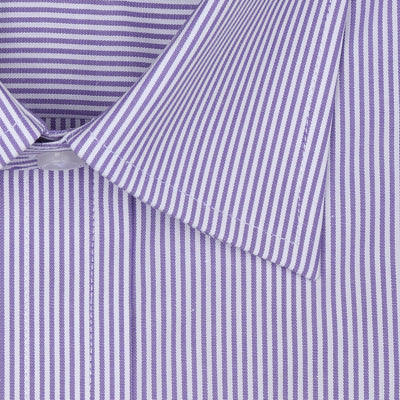 Bennett Signature Business Shirt in Mauve Stripe - Ron Bennett Menswear  - 2