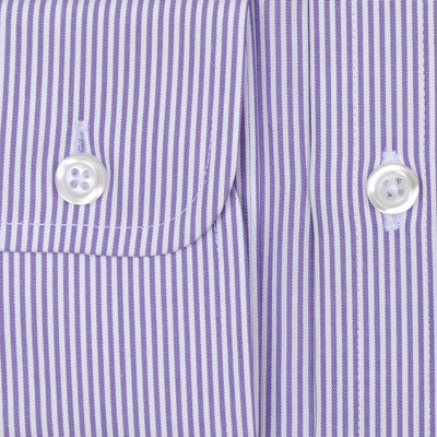 Bennett Signature Business Shirt in Mauve Stripe - Ron Bennett Menswear  - 3