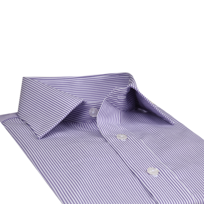 Bennett Signature Business Shirt in Mauve Stripe - Ron Bennett Menswear  - 4