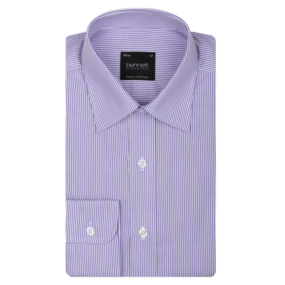 Bennett Signature Business Shirt in Mauve Stripe - Ron Bennett Menswear  - 1