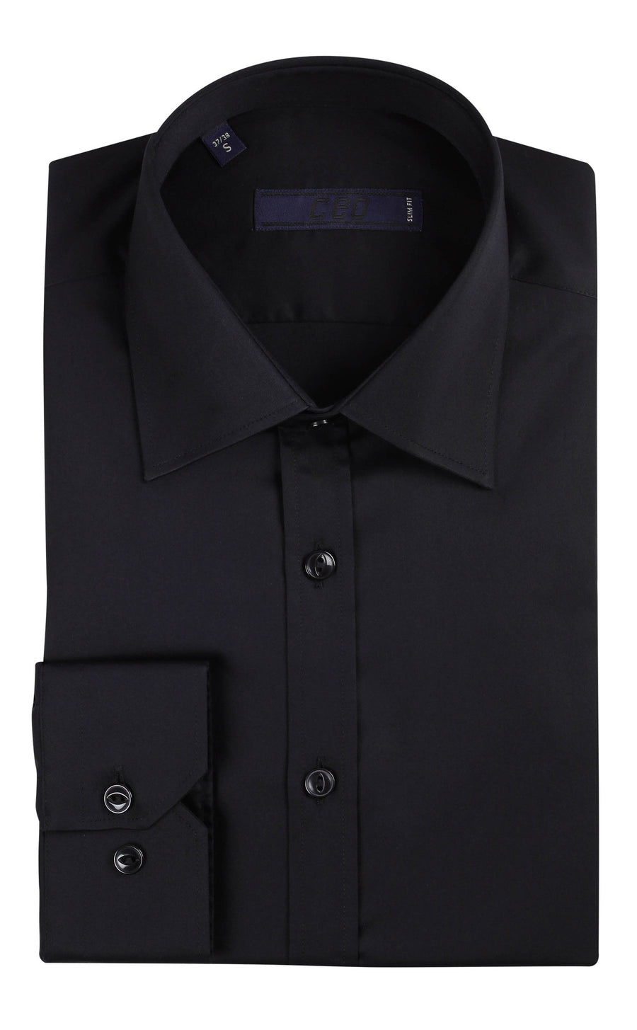 CEO Slim Fit Shirt in Black - Ron Bennett Menswear