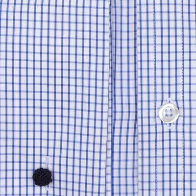 Bennett Signature Business Shirt with French Cuff in Navy Fine Check - Ron Bennett Menswear  - 2