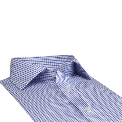 Bennett Signature Business Shirt with French Cuff in Navy Fine Check - Ron Bennett Menswear  - 4