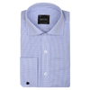 Bennett Signature Business Shirt with French Cuff in Navy Fine Check - Ron Bennett Menswear  - 1