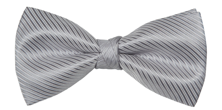 Bennett Stay Handsome Bow Tie in Silver Stripe - Ron Bennett Menswear