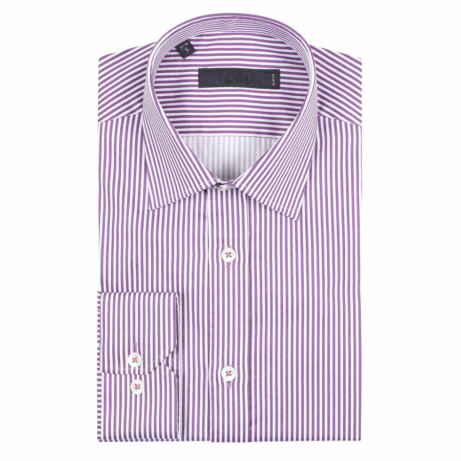 CEO Slim Fit Shirt in Purple Stripe - Ron Bennett Menswear  - 1