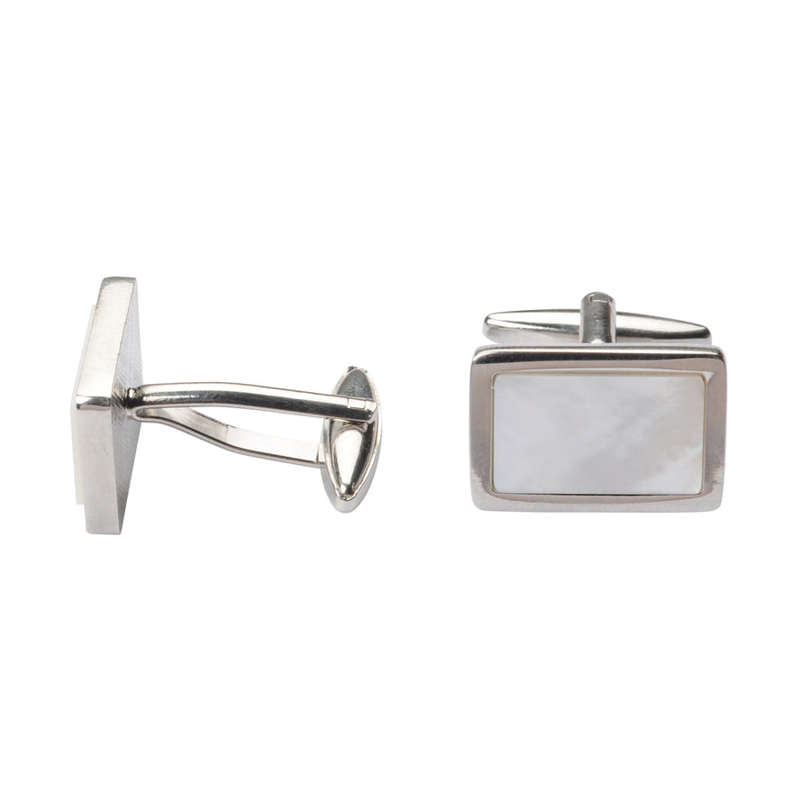 Bennett Signature Cufflinks in Mop White - Ron Bennett Menswear
