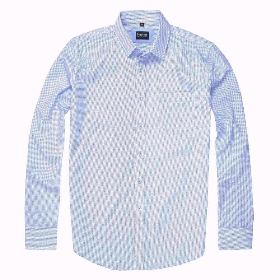 Bennett Cotton Casual Long Sleeve Shirt in Sky Blue - Ron Bennett Menswear