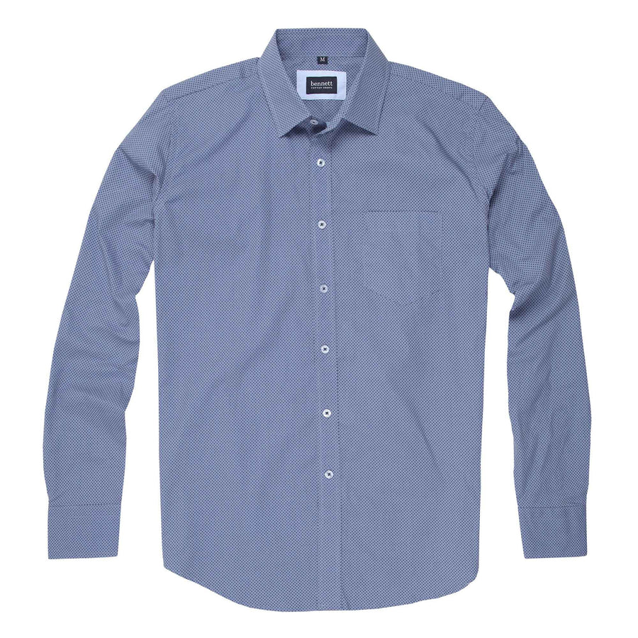 Bennett Cotton Casual Long Sleeve Shirt in Blue