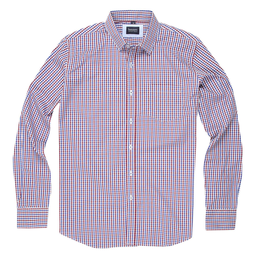 Bennett Cotton Casual Long Sleeve Shirt in Red Check -