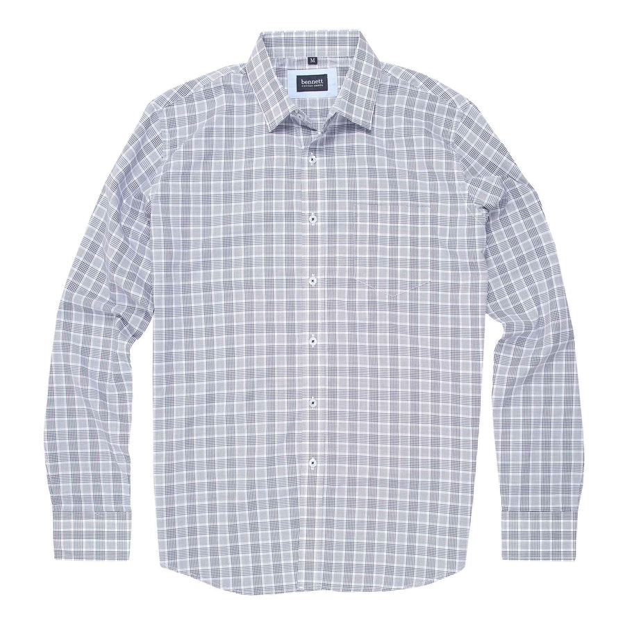 Bennett Cotton Casual Long Sleeve Shirt in Navy Check -
