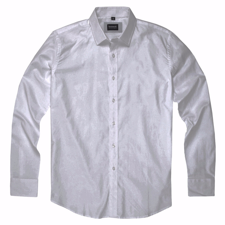 Bennett Cotton Casual Long Sleeve Shirt in White -