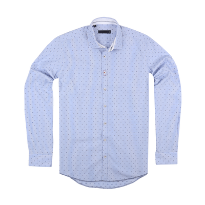 CEO Slim Fit Smart Casual Shirt in Blue Dot - Ron Bennett Menswear  - 1