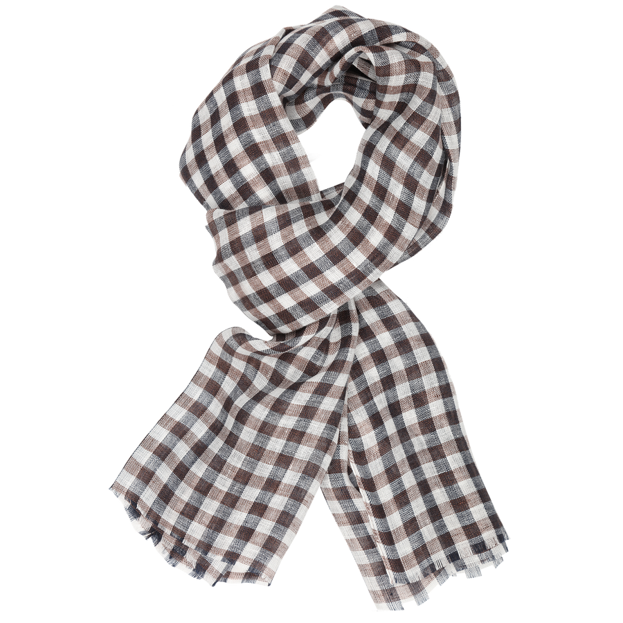James Derby Italia Linen Scarf in Brown - Ron Bennett Menswear