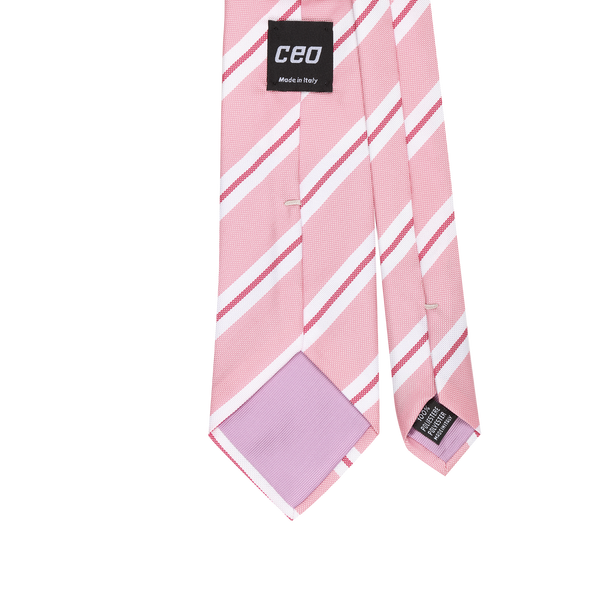 CEO Made In Italy Tie in Pink Stripe - Ron Bennett Menswear  - 2