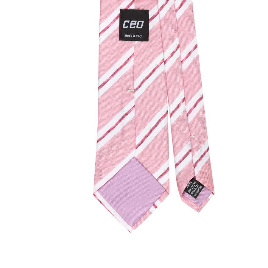 CEO Made In Italy Tie in Pink Stripe - Ron Bennett Menswear  - 1